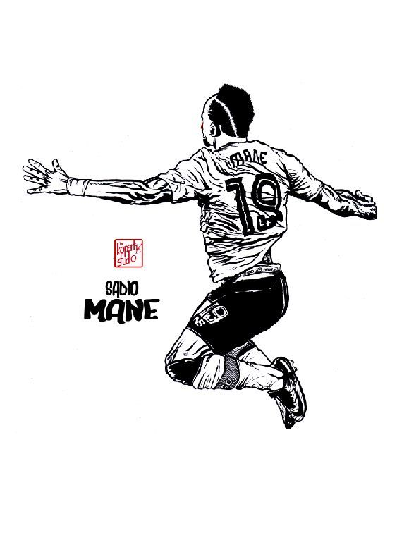 Sadio Mane : Liverpool player : Liverpool FC : black pen drawing Illustration #Liverpool #TheKopArtsStudio #liverpoolfc #football #thisisanfield #lfc #lovelfc #ynwa #picoftheday #matchday #art #drawing #illustration