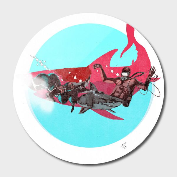 Discover «Shark-Hunter-C», Limited Edition Disk Print by VICTOR ABARCA LIZANA - From $99 - Curioos