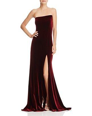 07ea251a83b47 AQUA Asymmetric Strapless Velvet Gown - 100% Exclusive | Bloomingdale's