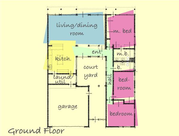 House with courtyard: Plan by Gregory La Vardera. Like the floor plan but  not the house as shown on website (too modern). This is my favorite floor  plan!