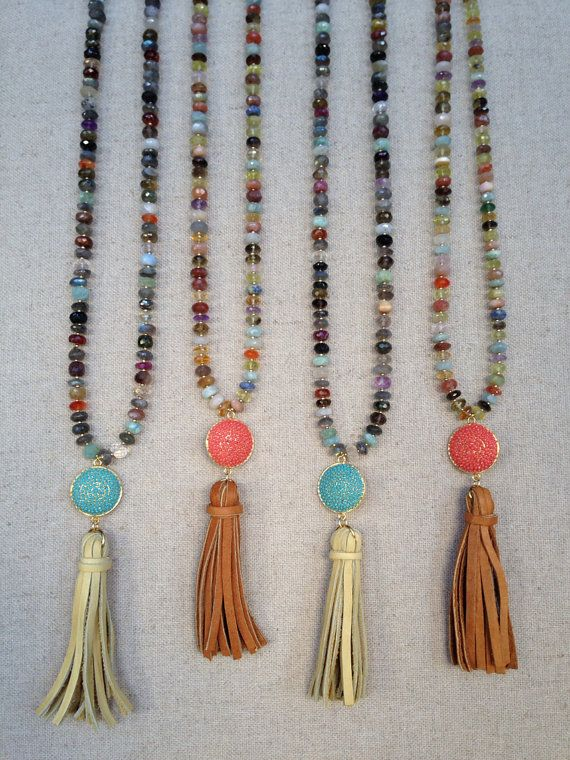 Multi Gemstone Necklace with Pave Connector and Leather Tassel Pendant