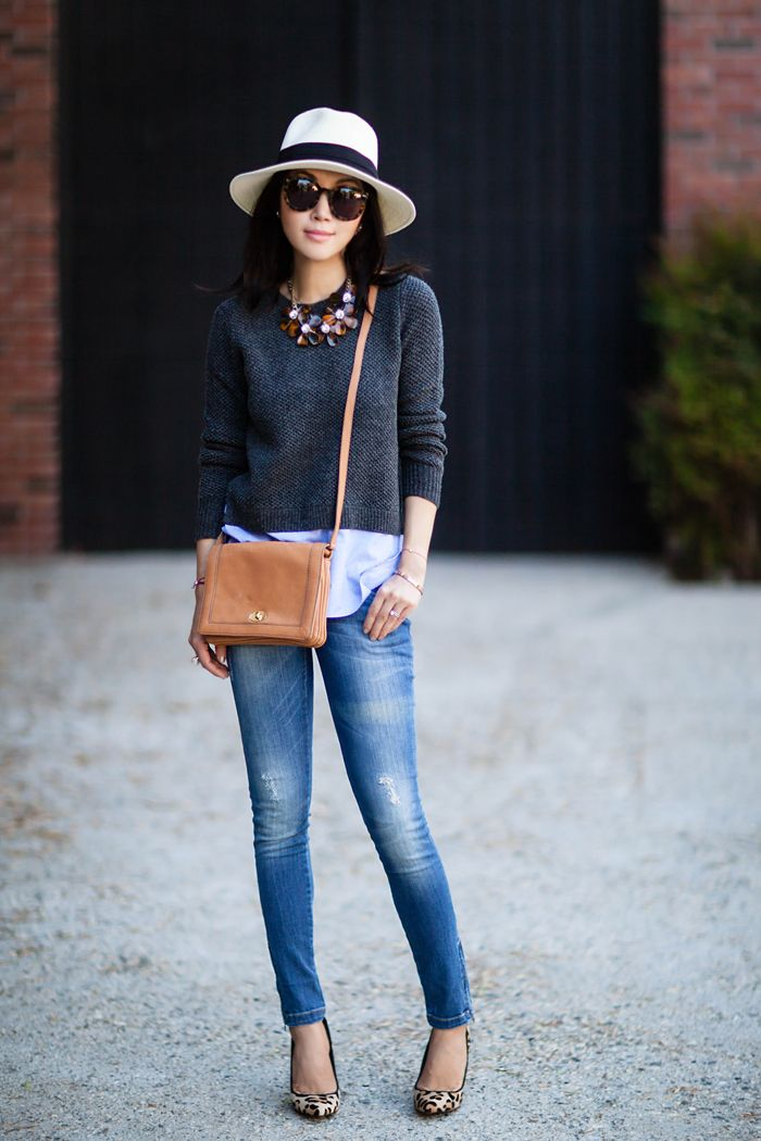 J.Crew LAMBSWOOL SHIRTTAIL SWEATER IN BLUE, J.Crew style, J.Crew CROSSBODY BAG, Chictopia collaboration, Steve Madden 'Galleryl' Pump, J.Crew necklace, Anine Bing DISTRESSED JEAN, ANINE BING Double Zip Skinny Jeans, J.Crew panama hat, Karen Walker super duper strength sunglasses, LIKETWICE collaboration