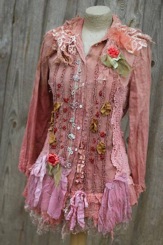 Roses and berries jacket ornate boho jacket linen