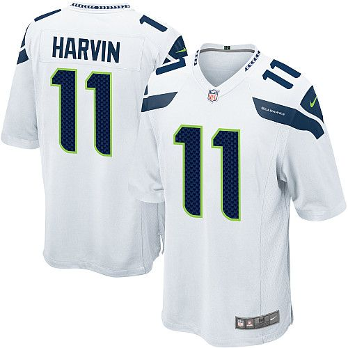 Men's Nike Seattle Seahawks Percy Harvin Game White Jersey