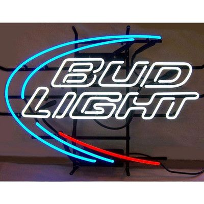 """Features:  -Bud Light neon sign.  -Red, white and blue neon.  Finish: -Blue, white, and red.  Material: -Metal/Glass. Dimensions:  Overall Height - Top to Bottom: -21"""".  Overall Width - Side to Side:"""