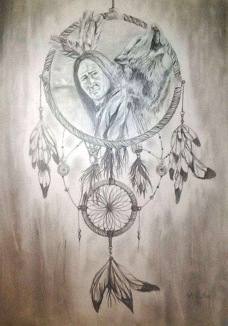 indígena, lobo y atrapasueños