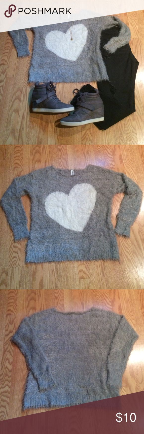 "Cropped Heart Sweater by Bethany Mota Darling Cropped Heart Sweater by Bethany Mita for Aeropostale. 64% nylon, 28% acrylic, 1% other fiber. Machine washable, tumble dry low. 21"" long. Aeropostale Sweaters Crew & Scoop Necks"