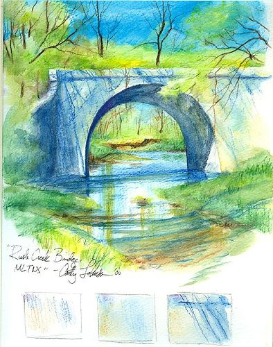 Bridge done with watercolour pencils by Cathy Johnson