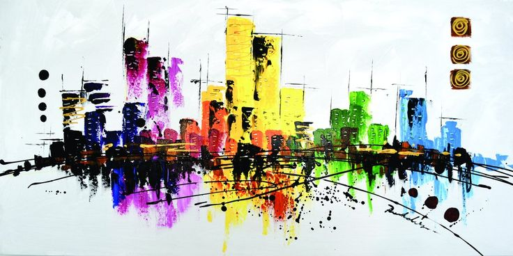 """""""Metro Brights"""" City Scape Oil Painting on Canvas"""