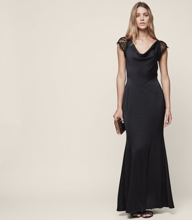 LACE-BACK MAXI EVENING GOWN