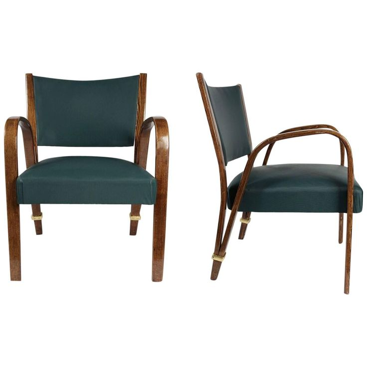 Elegant Pair of 'Bow-Wood' Armchairs by Steiner, 1950s | 1stdibs.com