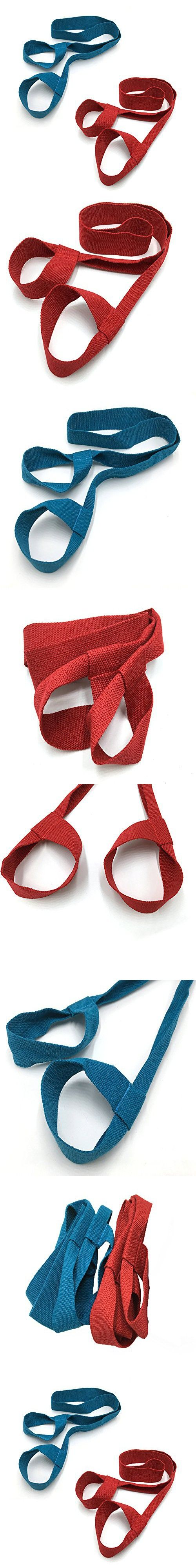"2 Packs Yoga Mat Sling-Versitile,Stretch&Durable Cotton Mat Straps (Blue&Red, 1.5""x7.0"")"