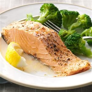 "Baked Salmon Recipe -""I often make this very moist and flavorful salmon for company because I can have it ready in less than half an hour,"" informs Emily Chaney of Penobscot, Maine. ""I like to serve it with rice, or a green vegetable and a tossed salad."""