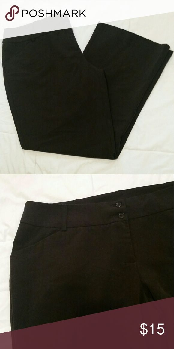 Plus Size Black Dress Pants Perfect figure flattering dress pants with 2 buttons and a zip fly, faux front pockets that won't add any bulk to your silhouette, and a thick waist band with belt loops. In excellent, perfect condition. Across the waist measures 22 inches. Inseam is 31 inches. New York City Design Co. Pants Trousers