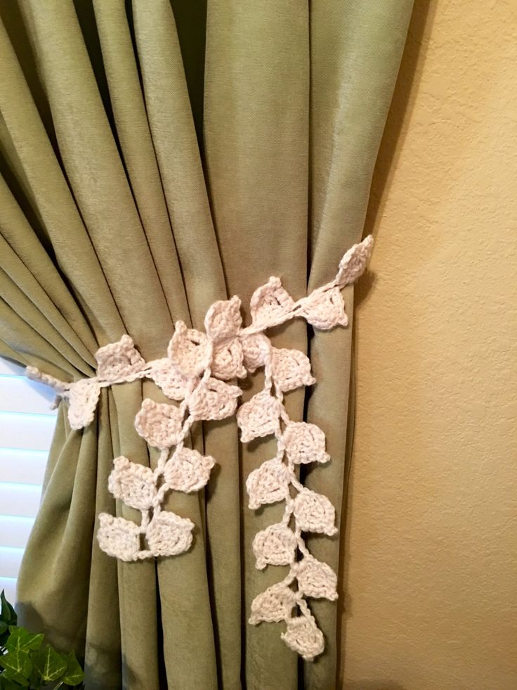 Crochet curtain tieback leaf design ivory 1 pair by for Designer curtain tie backs