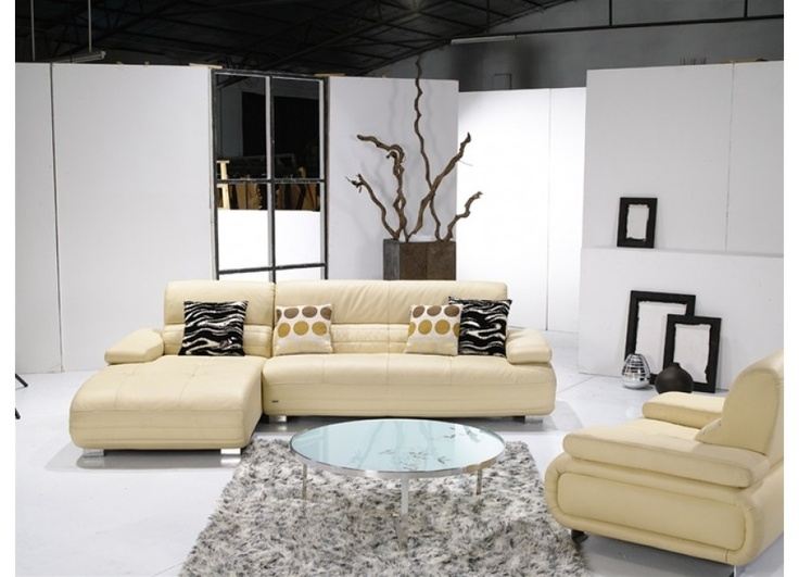 Modern Ivory Leather Sectional Sofa with Chair