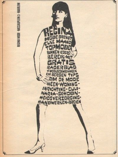 Vintage Fashion Illustrations: 1960s Dutch typography ad for Regina sewing fashion magazine - 1967.