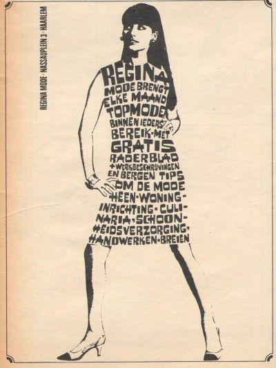 Vintage Fashion Illustrations: 1960s Dutch typography ad for Regina sewing fashion magazine - 1967.