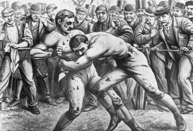 Bare Knuckles Boxing Thrived In the 19th Century: Bare knuckles boxing match, circa 1860s