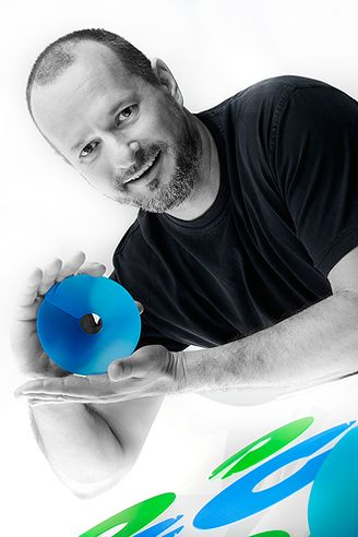 Robin Bristow - winner of a Sydney Design Award for his  Bigmouth Funnels. Photo by LisaSista Photography - taken at Artists Behind Cameras Studio.
