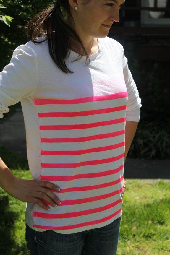 Another DIY: neon striped shirt: Diy Ideas, Neon Stripes, Diy Stripes, Diy Sprays Paintings Shirts, Old Shirts, Stripes Shirts, Diy Neon Clothing, Diy Tshirt Paintings, Diy Shirts