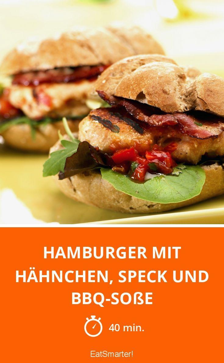 Hamburger mit Hähnchen, Speck und BBQ-Soße - smarter - Zeit: 40 Min.   eatsmarter.de