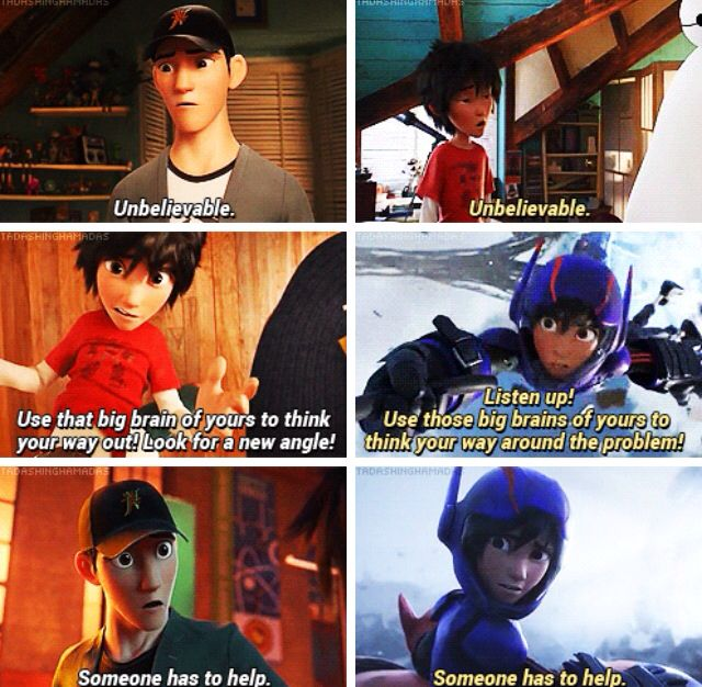 I think this is more than just a parallel. Here in these scenes, Hiro is using the same words while he's a superhero, that tadashi said to him. I think this means that Hiro thought those were things a good superhero would say to others. Which means that Hiro saw Tadashi as a true hero. <<<FEELS.