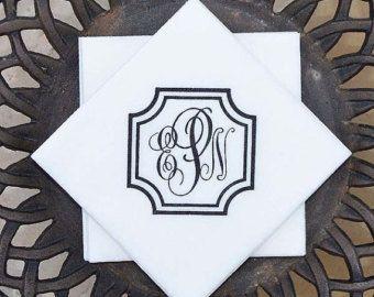 White Linen-Like Monogrammed Party Napkins with Double Border, Elegant Wedding Napkins, Custom Napkins, Wedding Monogram Napkins, Bar Napkin