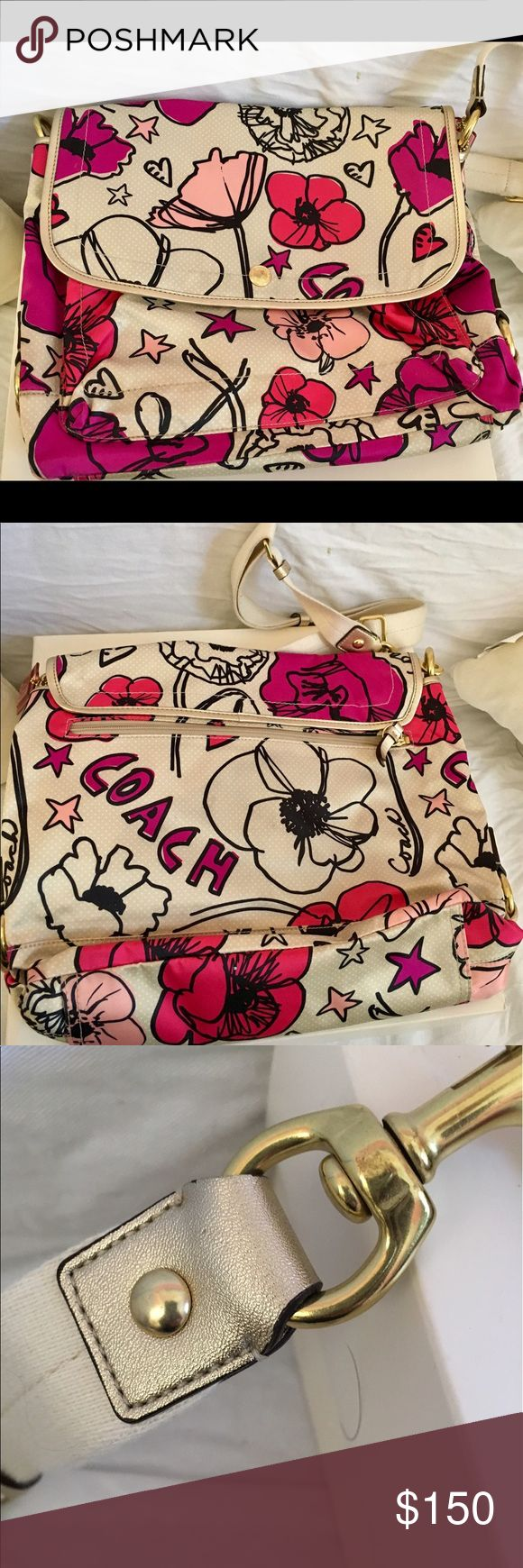 COACH POPPY FLORAL MESSENGER BAG VERY PRETTY This is a great bag.  Can be used as a handbag or carrying case for laptop.  Beautiful Poppy Floral Fabric with pink tones on an ivory background. Gold tone accents and hardware. Coach Bags Satchels