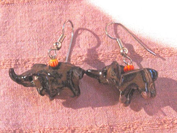 Stoneware Elephant Earrings  With Stone Bead  by MollyCritters