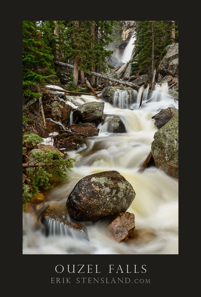Here's a shot from earlier this week up at Ouzel Falls, Rocky Mountain National Park. The falls were roaring as I've never seen them before. The power of this year's run-off is really impressive. If you plan to hike beyond Ouzel Falls in Wild Basin, you should know that the bridge right here is out and probably won't be replaced for a few months. You'll want to take the bypass trail to get to Thunder Lake, Bluebird Lake and the others which lie beyond.