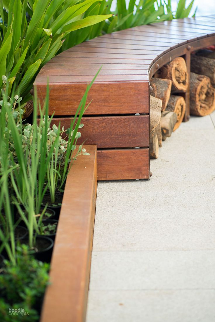 Curved bench and other outdoor seating ideas. Outdoor furniture, garden edging in Melbourne by Boodle Concepts landscaping design & construction. http://www.boodleconcepts.com.au/