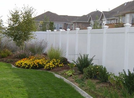 White privacy fence vinyl backyard design pinterest for Garden decking hinckley