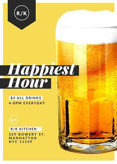 Happy Hour Beer Restaurant Flyer