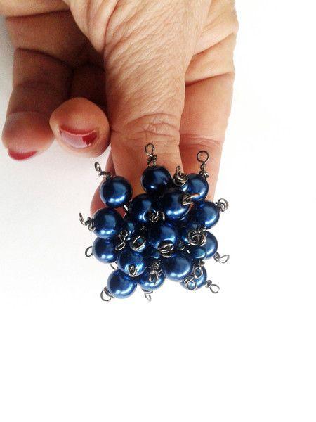 Anelli in vetro - anello regolabile perle blu - un prodotto unico di tizianat su DaWanda