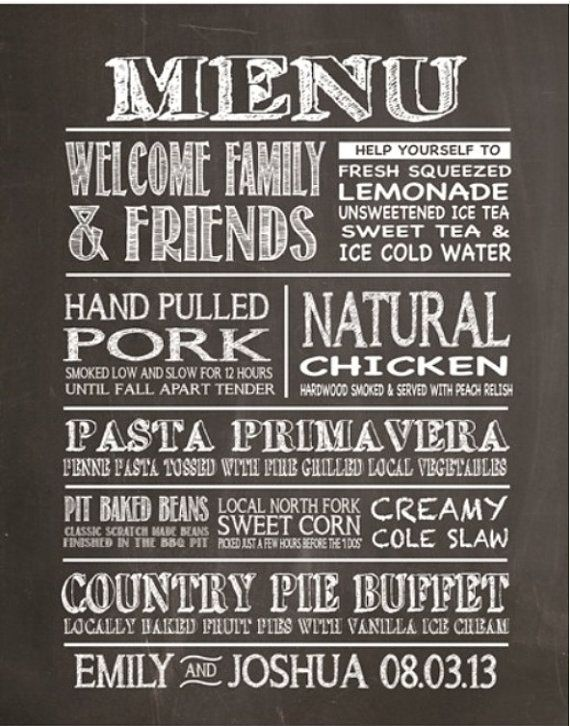 chalkboard wedding menu by parrjosh on etsy 20 00 vow renewal