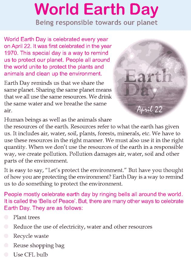 Character education and life skills grade 3 lesson 20 World Earth Day 3