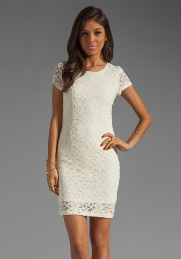 MM COUTURE BY MISS ME Lace Mandarin Collar Dress in Ivory