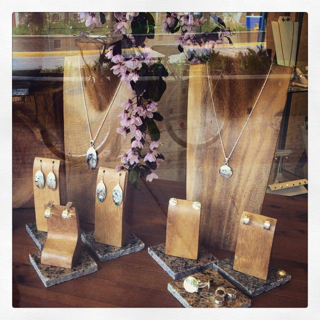 We love accenting our window displays with the cherry blossoms!! #garnishrevelstoke #canadianhandmade #springhassprung #shoprevy #shoplocal #firstnations #handengraved