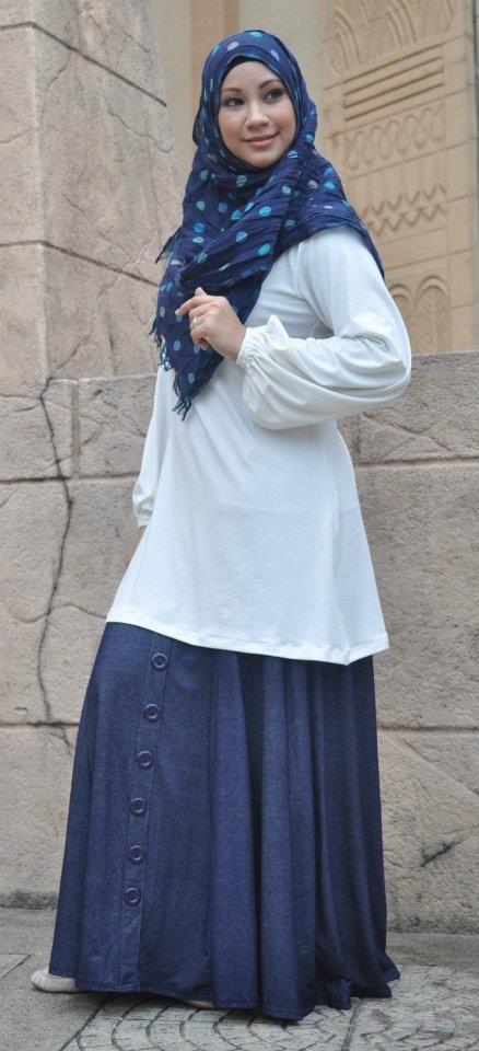 Muslimah White Blouse and Denim Skirt