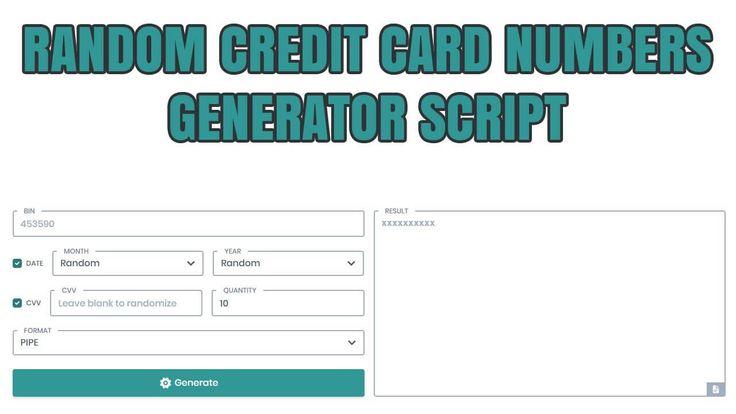 Random Credit Card CC VCC Numbers Generator Script PHP Secure