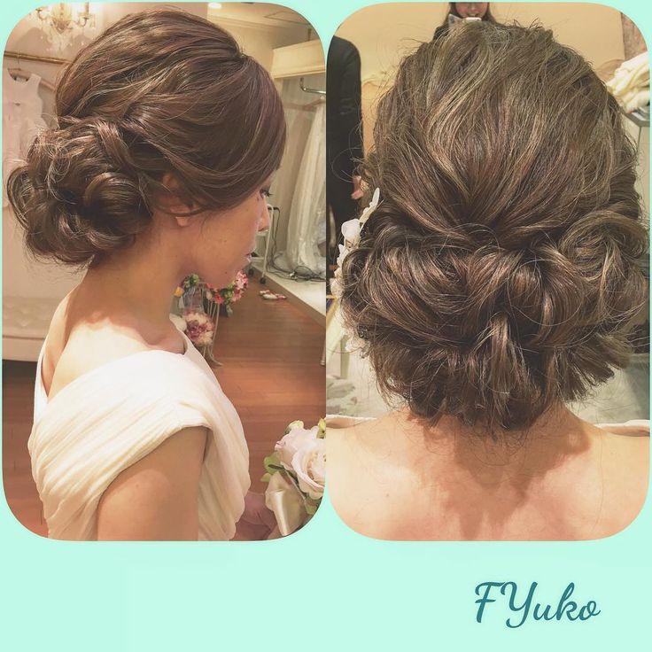 """161 Likes, 2 Comments - Yuko Fujii (@puipui0426) on Instagram: """"新婦様のカラーが可愛すぎて 大きな声を出しました。ハイライトの色味が最高!あたしもこんな色味にしたいな〜  #ヘアスタイル #hairmake #ヘアアレンジ #ブライダル #bridal…"""""""