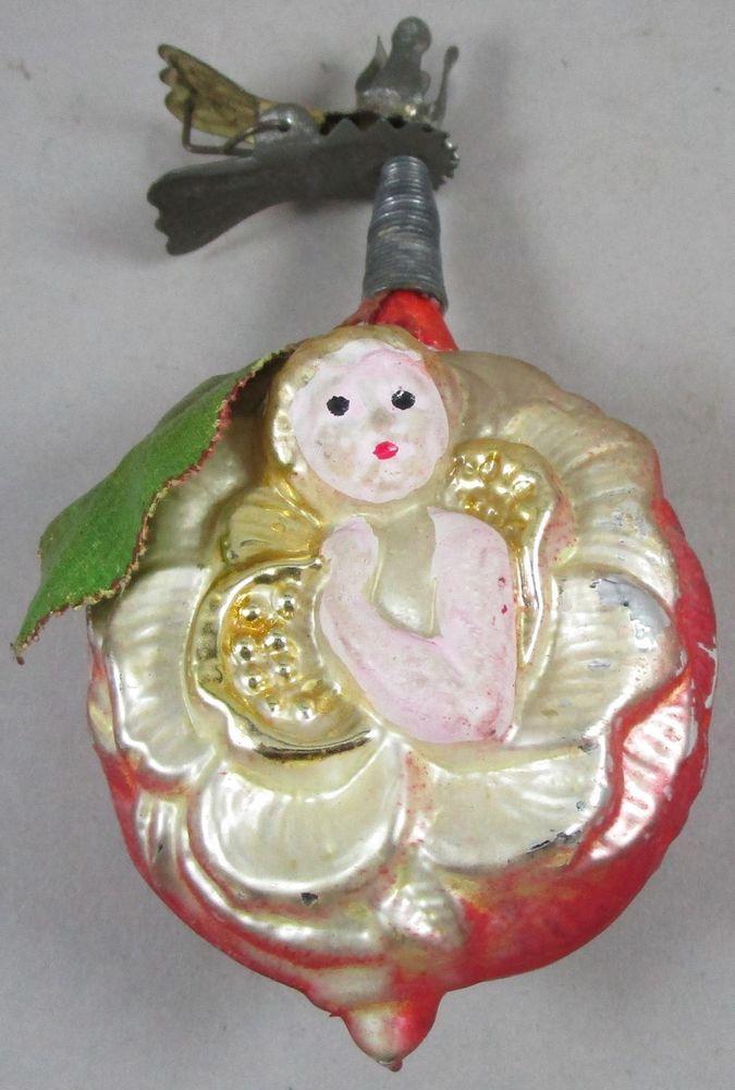 Christbaumkugeln Antik.Antique German Figural Glass Christmas Clip Ornament Baby Angel