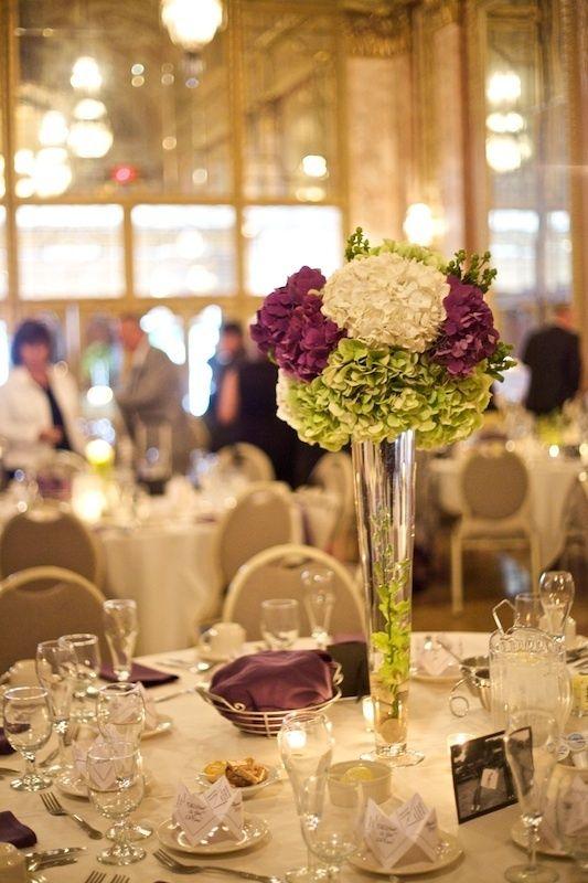 tall hydrangea centerpieces for weddings | Tall, simple Hydrangea centerpieces | My Wedding