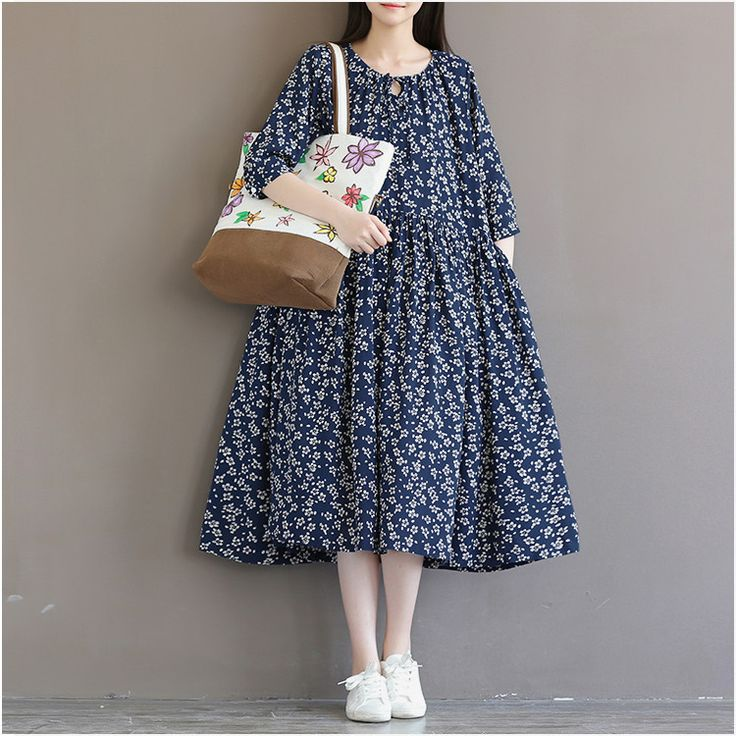 Women's loose cotton linen long-sleeved floral dress - Buykud