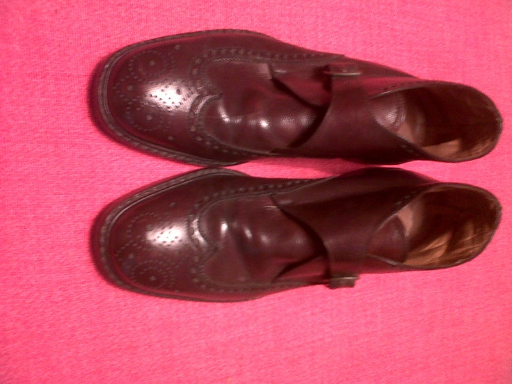 70s 70s Brown Buckle Leather Ankle Boots.Oxford's or wingtips. Olympic Torino