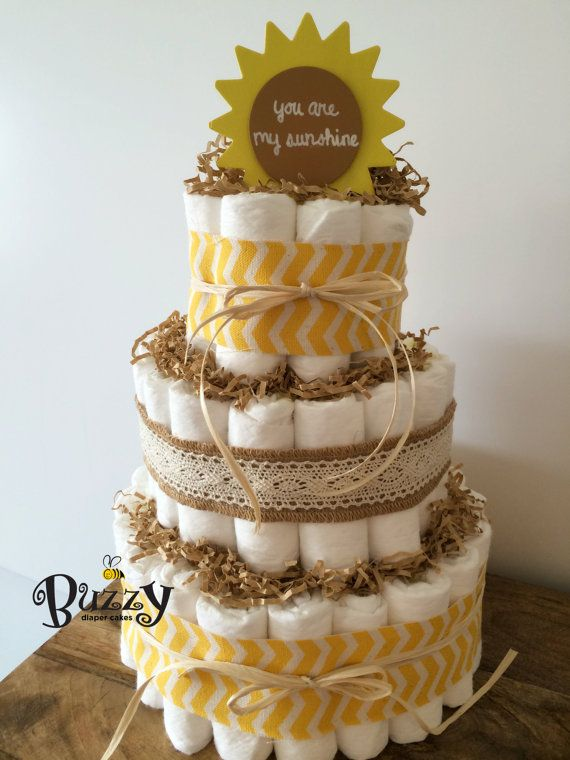 You Are My Sunshine 3 Tier Yellow Diaper Cake Baby Shower by BuzzyDiaperCakes