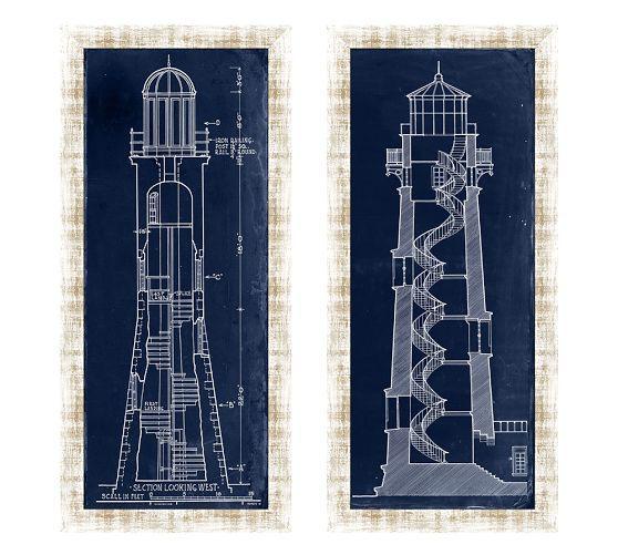 Blueprint Light House Framed Prints Pottery Barn I