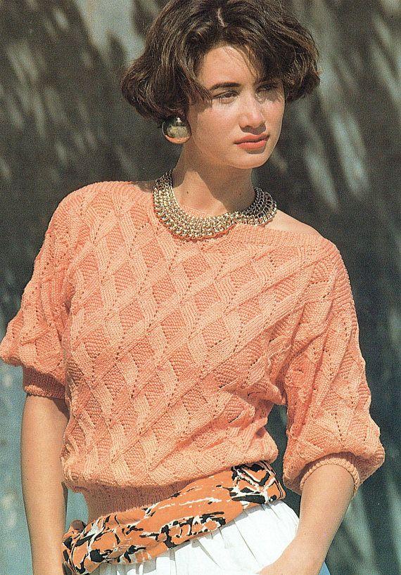 PDF Vintage Womens Ladies Knitting Pattern Tunic Summer Beach