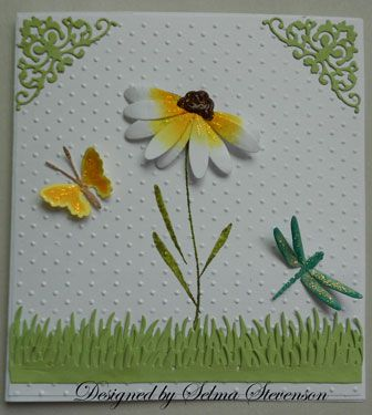 """Selma's Stamping Corner using the """"insides"""" of the memory box """"Tilth floral"""" die."""